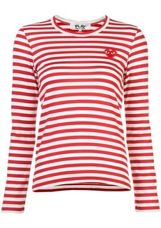 Comme Des Garçons Play little red heart striped T-shirt - White