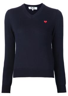 Comme Des Garçons Play mini heart v-neck jumper - Blue