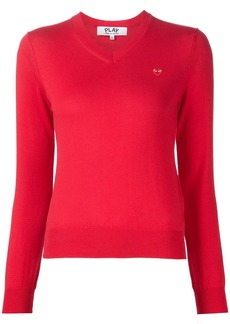 Comme Des Garçons Play mini heart v-neck jumper - Red