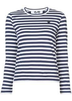 Comme Des Garçons Play striped heart patch T-shirt - Blue