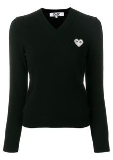 Comme Des Garçons Play V-neck heart logo sweater - Black