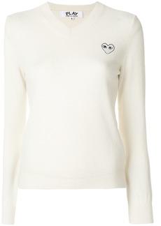 Comme Des Garçons Play V-neck pullover - White