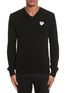 Comme des Garçons PLAY White Heart Wool V-Neck Sweater