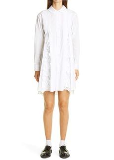 Comme des Garçons Pleated Ruffle Long Sleeve Poplin Shirtdress