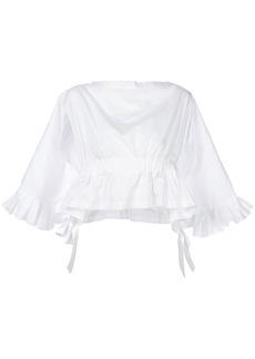 Comme Des Garçons pleated trim draped back top - White