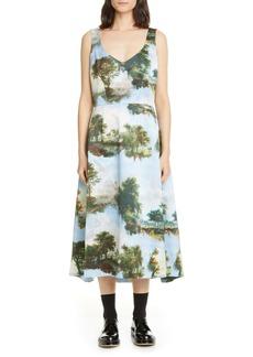 Comme des Garçons Print Satin Sleeveless Midi Dress