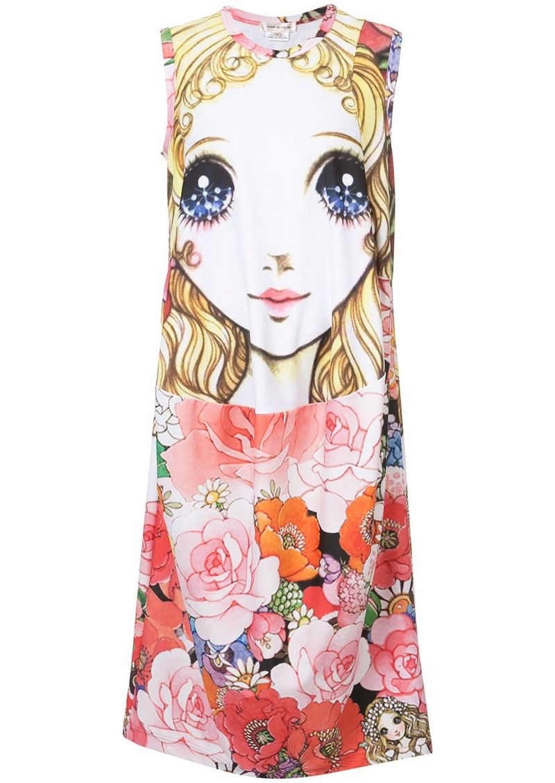 Comme Des Garçons printed doll shirt dress - Multicolour