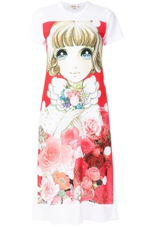 Comme Des Garçons printed doll T-shirt dress - White