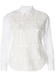 Comme Des Garçons raw edge stitched panel shirt - White