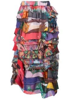 Comme Des Garçons ruffled patchwork midi skirt - Multicolour
