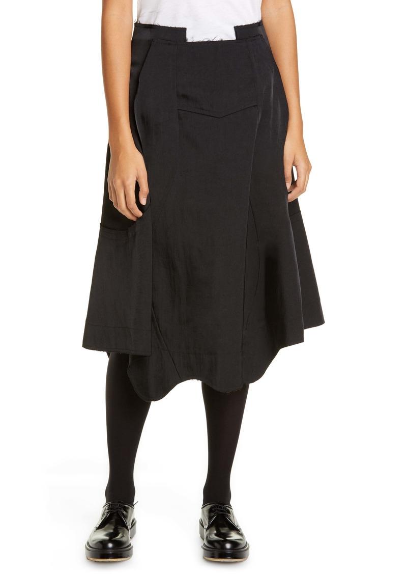 Comme des Garçons Seam Detail Nylon Twill Midi Skirt