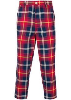 Comme Des Garçons Shirt Boys cropped checked trousers - Red