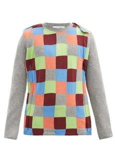 Comme des Garçons Shirt Checkerboard-panel wool-blend sweater