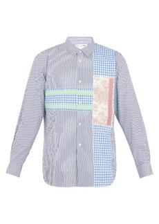Comme des Garçons Shirt Contrast-panel striped cotton shirt