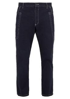 Comme des Garçons Shirt Contrast-stitching cotton cropped trousers