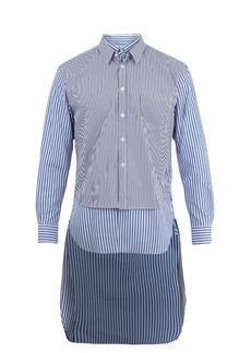 Comme des Garçons Shirt Contrasting-panel striped cotton shirt