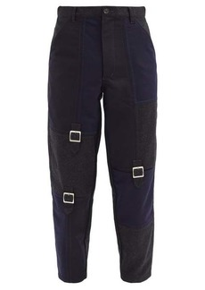 Comme des Garçons Shirt Cutout buckled patchwork wool trousers