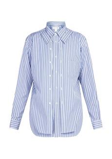 Comme des Garçons Shirt Double-layer striped cotton shirt
