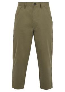 Comme des Garçons Shirt Mid-rise tapered-leg cotton cropped trousers