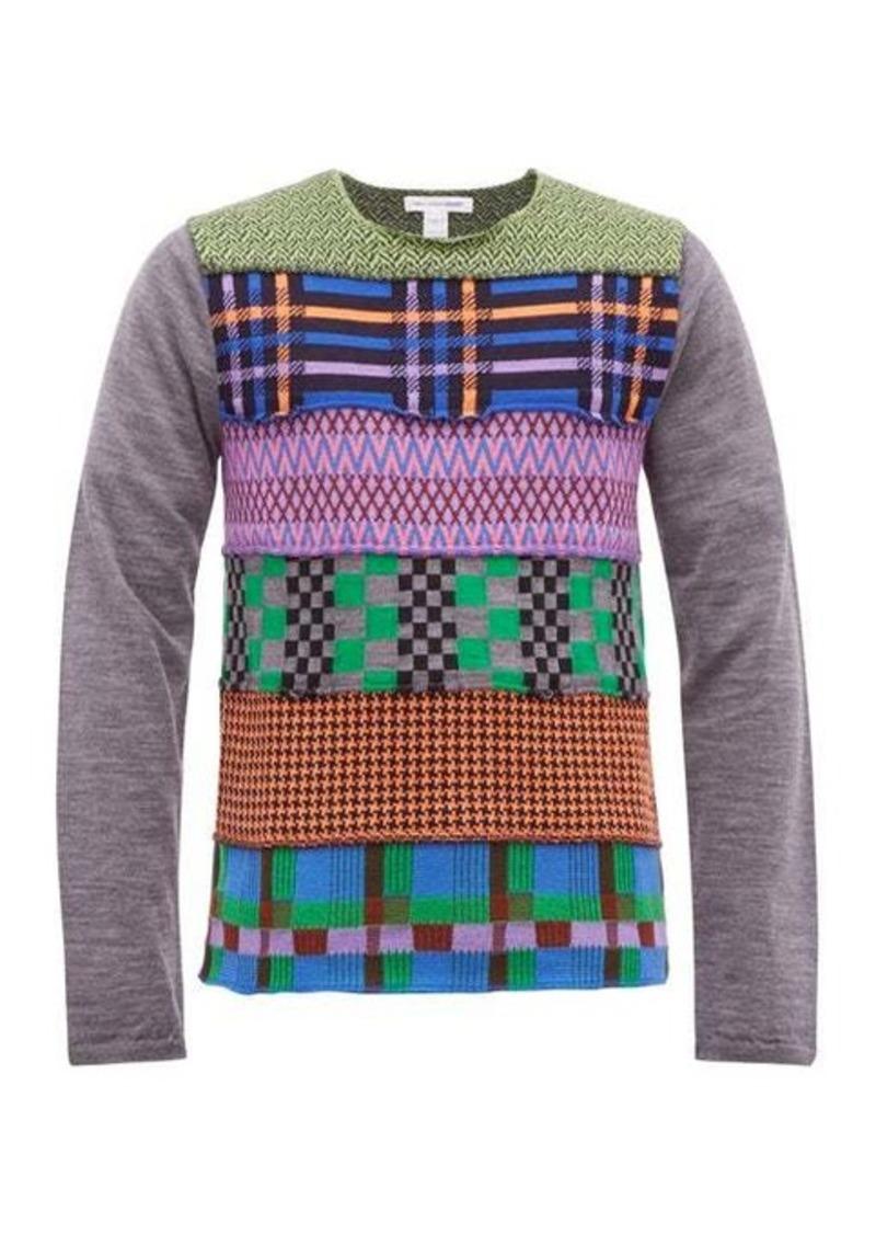Comme des Garçons Shirt Patchwork-intarsia wool-blend sweater