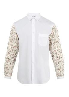 Comme des Garçons Shirt Point-collar contrasting-sleeve cotton shirt