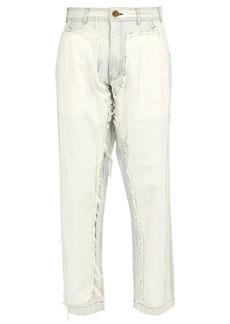Comme des Garçons Shirt Raw-edged corduroy-panel jeans