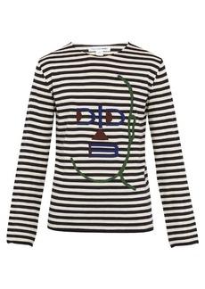 Comme des Garçons Shirt Striped long-sleeved wool-blend top