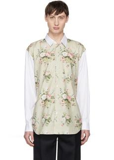 Comme des Garçons Shirt White & Beige Floral Shirt