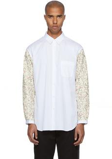 Comme des Garçons Shirt White & Pink Floral Sleeves Shirt
