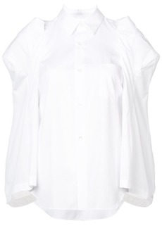 Comme Des Garçons structured shoulders cape shirt - White