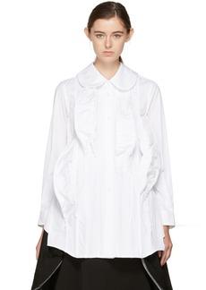 Comme des Garçons White 3D Mound Ruffled Shirt