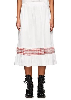 Comme des Garçons Women's Embroidered Cotton Poplin Midi-Skirt