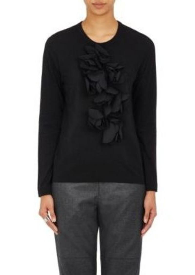 Comme des Garçons Women's Floral Appliqué Long-Sleeve T-Shirt-BLACK Size L