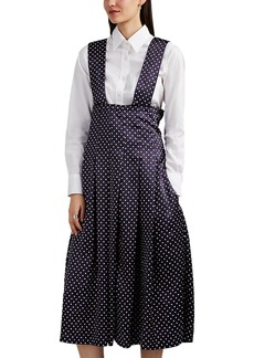 Comme des Garçons Women's Polka Dot Satin Pleated Apron Dress