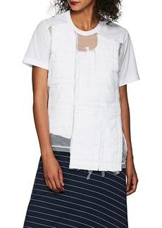 Comme des Garçons Women's Tulle-Overlay Patchwork Crepe T-Shirt