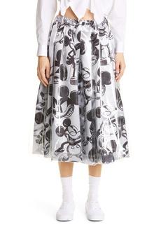 Comme des Garçons x Mickey Mouse Print Satin Midi Skirt