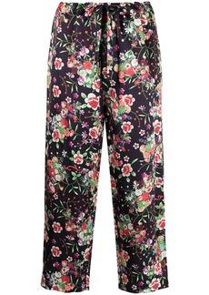 Comme des Garçons cropped floral-print silk trousers
