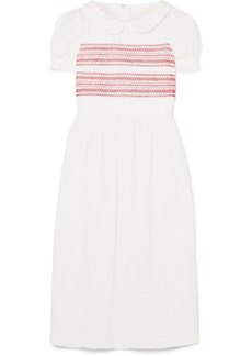 Comme des Garçons Embroidered shirred cotton-poplin midi dress