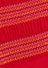 Comme des Garçons Embroidered shirred cotton-poplin midi dress