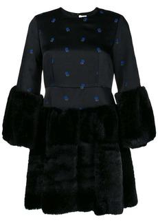 Comme des Garçons faux fur floral embroidered dress