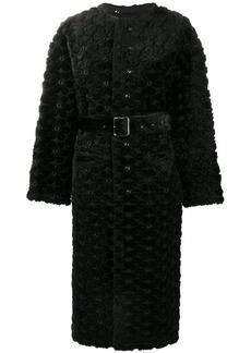 Comme des Garçons faux fur floral embroidered long coat