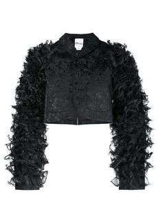 Comme des Garçons floral brocade textured sleeve jacket