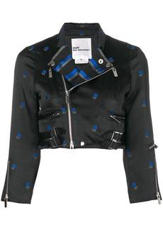 Comme des Garçons floral jacquard cropped biker jacket
