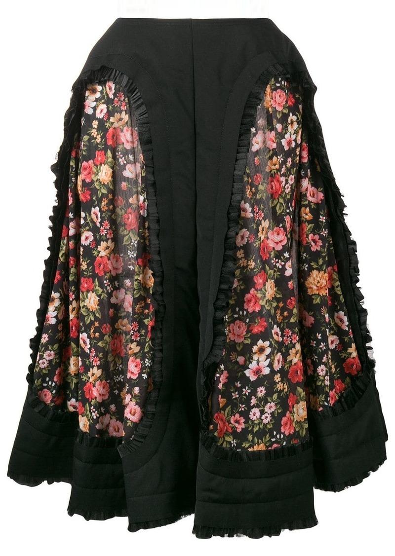 Comme des Garçons floral panelled midi skirt