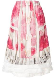 Comme des Garçons floral print layered midi skirt