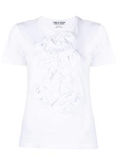 Comme des Garçons floral-ruffled front cotton T-shirt