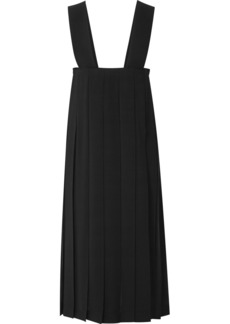 Comme des Garçons Frayed Pleated Crepe De Chine Midi Dress