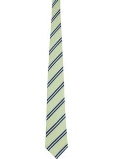 Comme des Garçons Green Silk Striped Tie