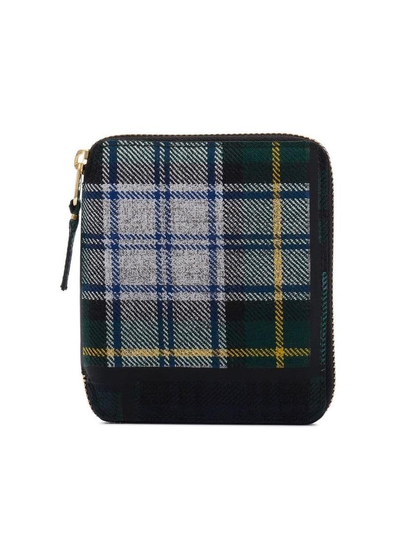 Comme des Garçons green tartan print zip around wallet