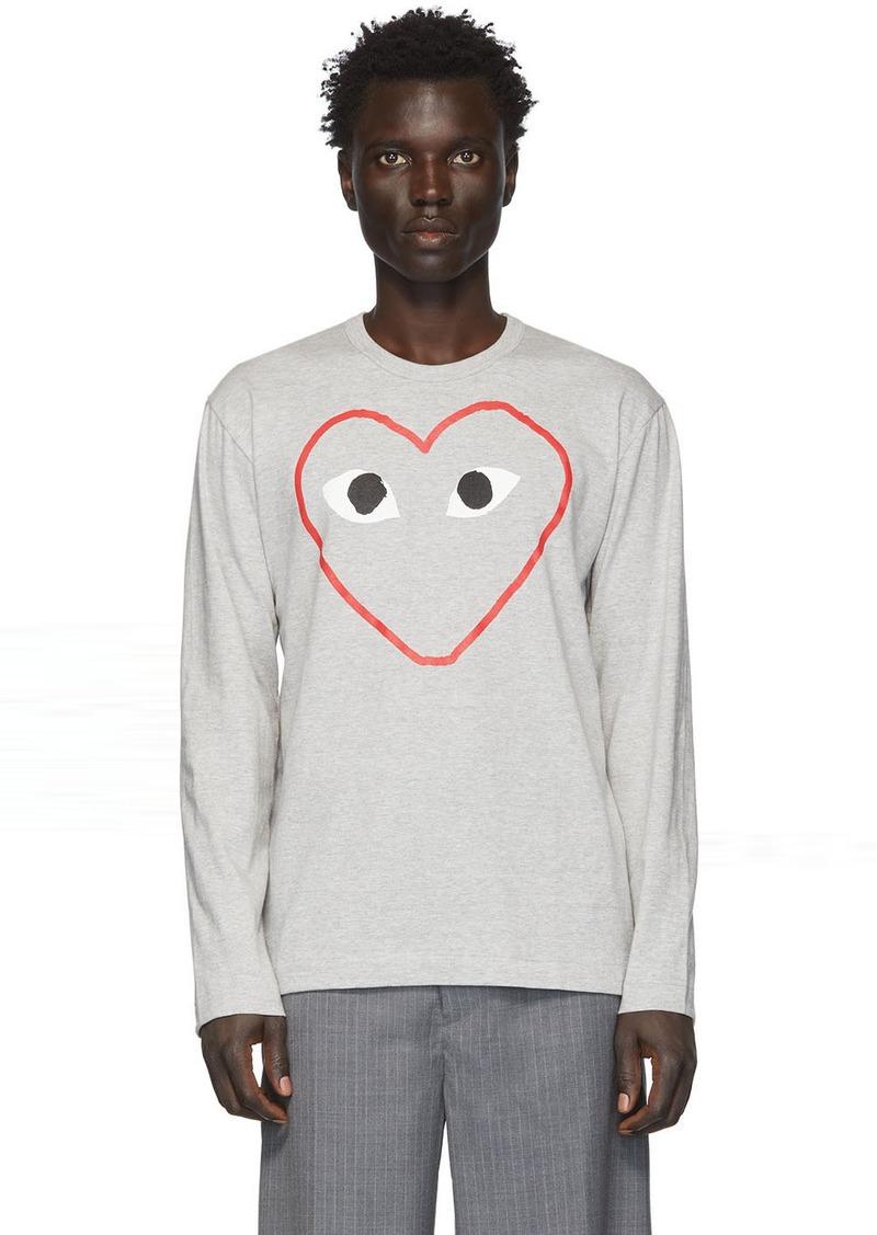 Comme des Garçons Grey Big Heart Long Sleeve T-Shirt